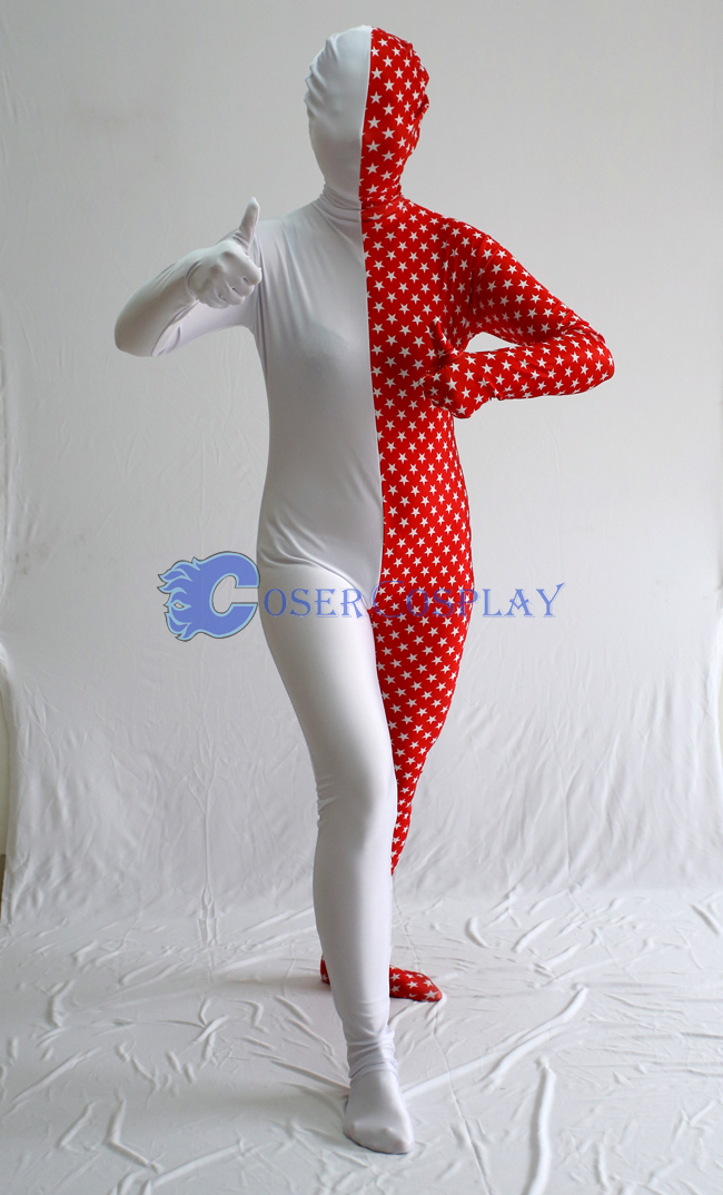 Star Red White Split Zentai Costume